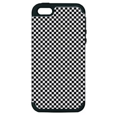 Sports Racing Chess Squares Black White Apple Iphone 5 Hardshell Case (pc+silicone) by EDDArt