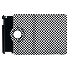 Sports Racing Chess Squares Black White Apple Ipad 2 Flip 360 Case by EDDArt