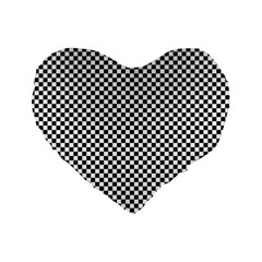 Sports Racing Chess Squares Black White Standard 16  Premium Heart Shape Cushions by EDDArt