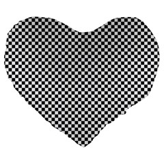 Sports Racing Chess Squares Black White Large 19  Premium Heart Shape Cushions by EDDArt