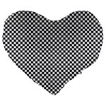 Sports Racing Chess Squares Black White Large 19  Premium Heart Shape Cushions Front