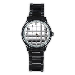 Sports Racing Chess Squares Black White Stainless Steel Round Watch by EDDArt