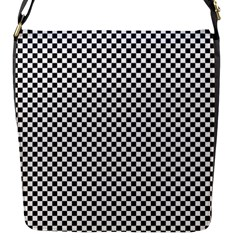 Sports Racing Chess Squares Black White Flap Messenger Bag (s) by EDDArt