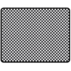 Sports Racing Chess Squares Black White Double Sided Fleece Blanket (medium)  by EDDArt