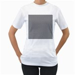 Sports Racing Chess Squares Black White Women s T-Shirt (White)  Front