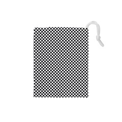 Sports Racing Chess Squares Black White Drawstring Pouches (small)