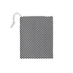 Sports Racing Chess Squares Black White Drawstring Pouches (Small)  Back