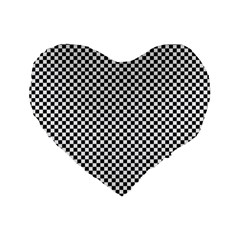 Sports Racing Chess Squares Black White Standard 16  Premium Flano Heart Shape Cushions by EDDArt