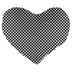Sports Racing Chess Squares Black White Large 19  Premium Flano Heart Shape Cushions by EDDArt