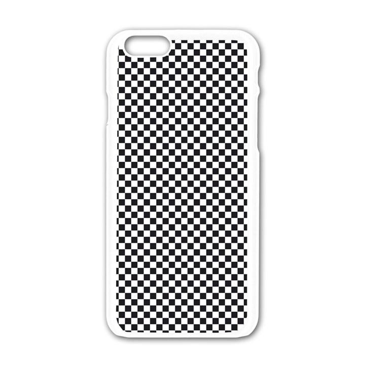 Sports Racing Chess Squares Black White Apple iPhone 6/6S White Enamel Case
