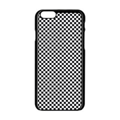 Sports Racing Chess Squares Black White Apple Iphone 6/6s Black Enamel Case