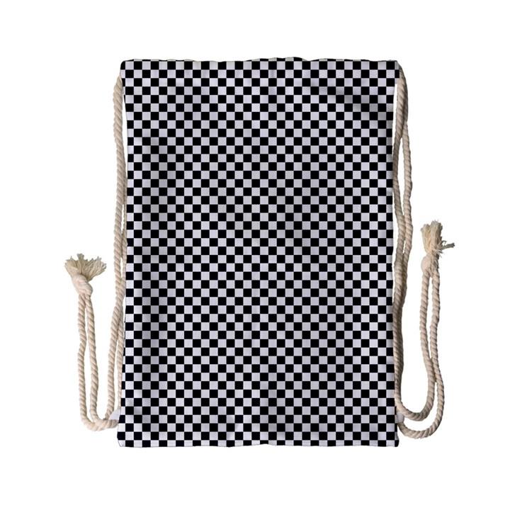 Sports Racing Chess Squares Black White Drawstring Bag (Small)