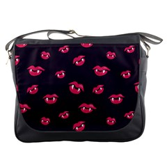 Pattern Of Vampire Mouths And Fangs Messenger Bags by CreaturesStore