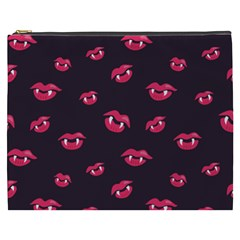 Pattern Of Vampire Mouths And Fangs Cosmetic Bag (xxxl)  by CreaturesStore