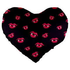 Pattern Of Vampire Mouths And Fangs Large 19  Premium Heart Shape Cushions