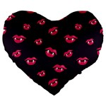 Pattern Of Vampire Mouths And Fangs Large 19  Premium Heart Shape Cushions Front