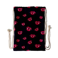 Pattern Of Vampire Mouths And Fangs Drawstring Bag (small) by CreaturesStore