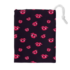 Pattern Of Vampire Mouths And Fangs Drawstring Pouches (extra Large) by CreaturesStore