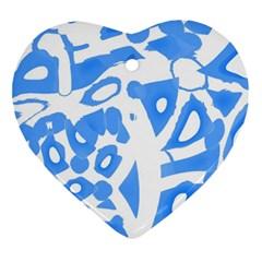 Blue summer design Ornament (Heart)