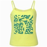 Blue summer design Yellow Spaghetti Tank