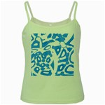 Blue summer design Green Spaghetti Tank