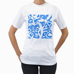 Blue Summer Design Women s T Shirt (white) (two Sided)