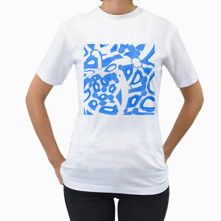 Blue summer design Women s T-Shirt (White) (Two Sided)