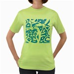 Blue summer design Women s Green T-Shirt