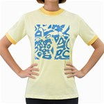 Blue summer design Women s Fitted Ringer T-Shirts