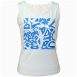 Blue summer design Women s White Tank Top