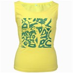 Blue summer design Women s Yellow Tank Top