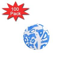 Blue summer design 1  Mini Magnets (100 pack)