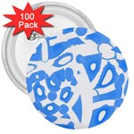 Blue summer design 3  Buttons (100 pack)