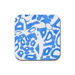 Blue summer design Rubber Coaster (Square)