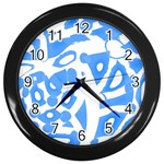 Blue summer design Wall Clocks (Black) Front