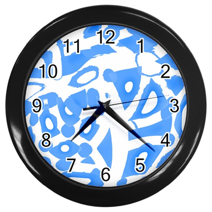Blue summer design Wall Clocks (Black)