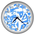 Blue summer design Wall Clocks (Silver)