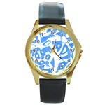 Blue summer design Round Gold Metal Watch