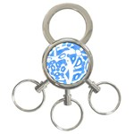 Blue summer design 3-Ring Key Chains
