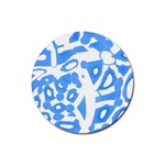 Blue summer design Rubber Round Coaster (4 pack)