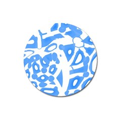 Blue Summer Design Magnet 3  (round)