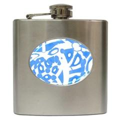 Blue summer design Hip Flask (6 oz)