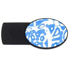 Blue summer design USB Flash Drive Oval (2 GB)
