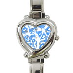 Blue summer design Heart Italian Charm Watch