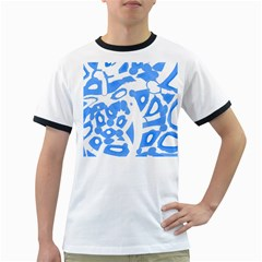 Blue Summer Design Ringer T Shirts
