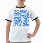 Blue summer design Ringer T-Shirts Front