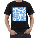 Blue summer design Men s T-Shirt (Black) (Two Sided)