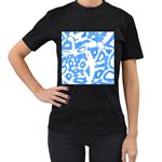 Blue summer design Women s T-Shirt (Black) (Two Sided)