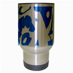 Blue summer design Travel Mug (Silver Gray) Center