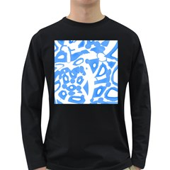 Blue Summer Design Long Sleeve Dark T Shirts